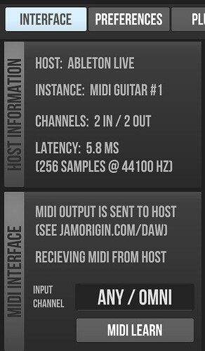 MG 2 plug in settings viewed from ableton